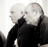 Director Declan Donnellan and Desgner Nick Ormerod of Cheek by Jowl's Ubu Roi.